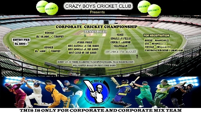 Invitation For Corporate Cricket Tournament: CRAZY BOYS CRICKET CLUB